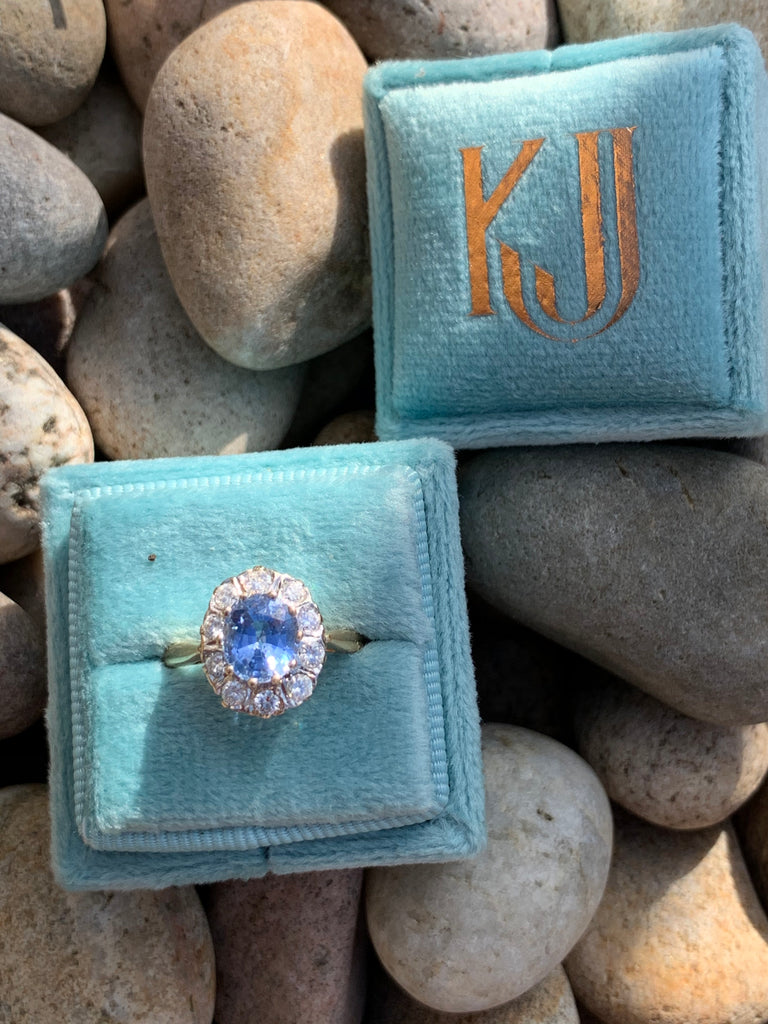 Ceylon Sapphire and Diamond Halo Ring in 18K Gold