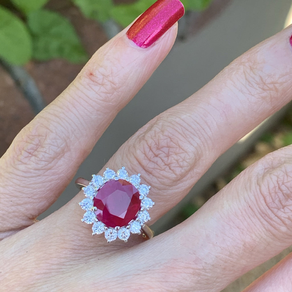 2.75 Carat Ruby and Diamond Halo Ring in 18K White Gold