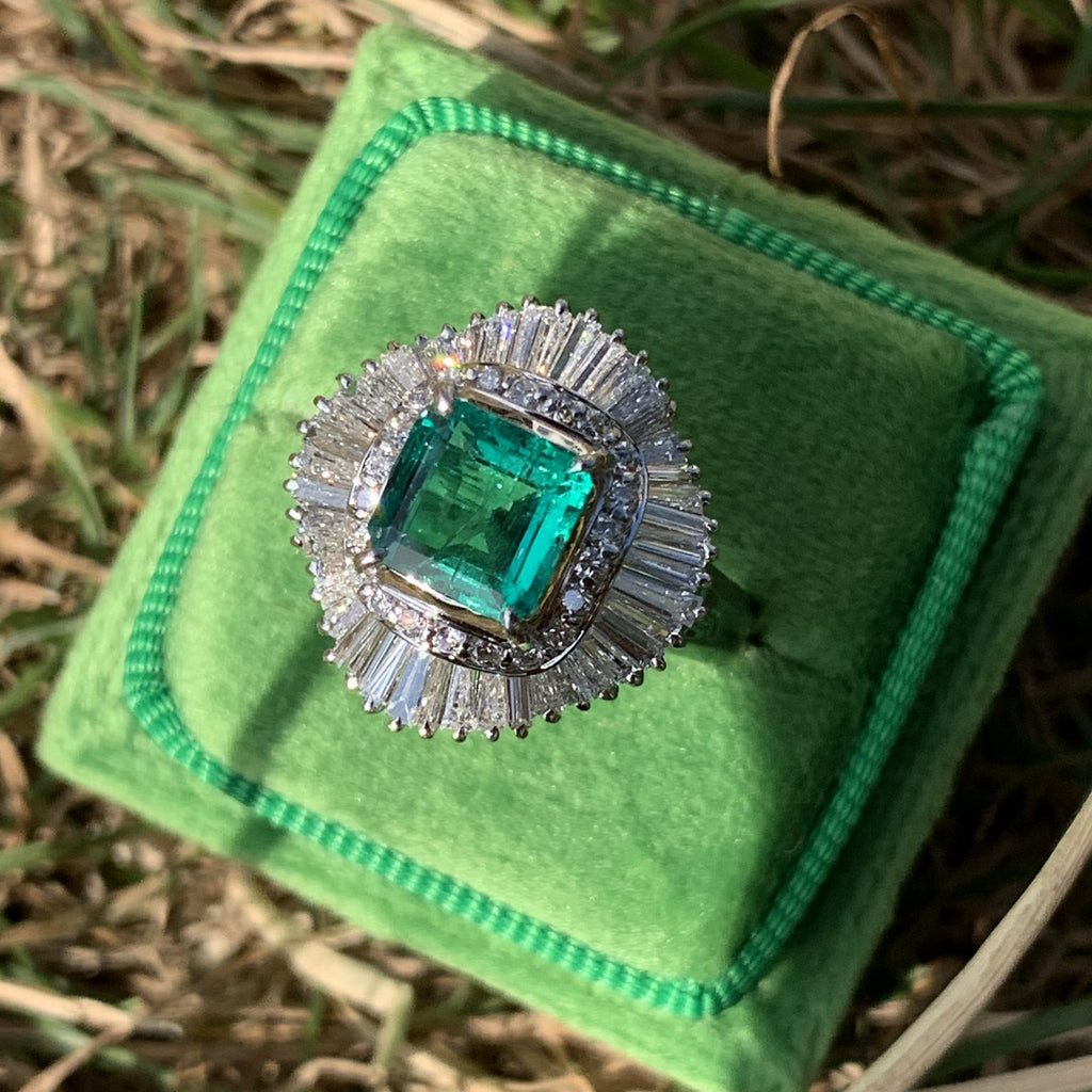 1.63 Carat Asscher Cut Colombian Emerald and Diamond Ring in Platinum