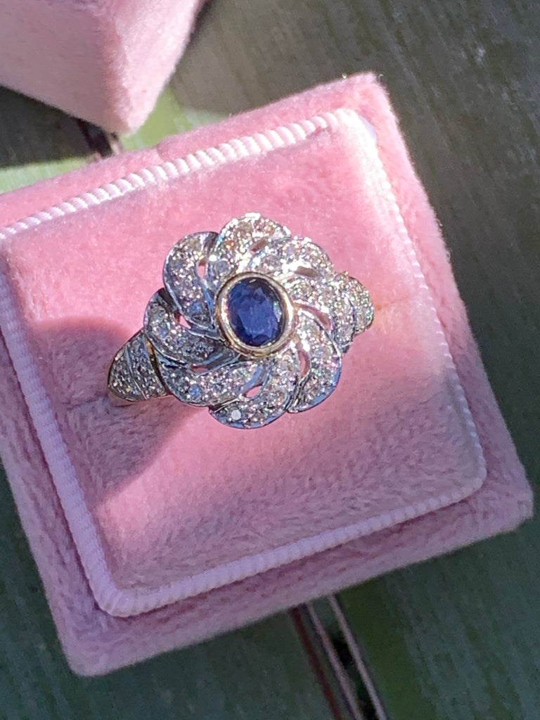 0.90 CTW Blue Sapphire and Diamond Halo Ring in 9K White and Yellow Gold