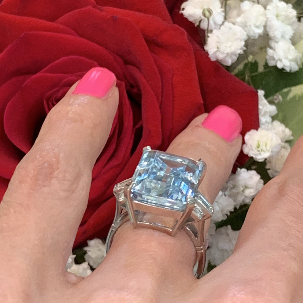 12.50 Carat Aquamarine and Diamond Ring in Platinum