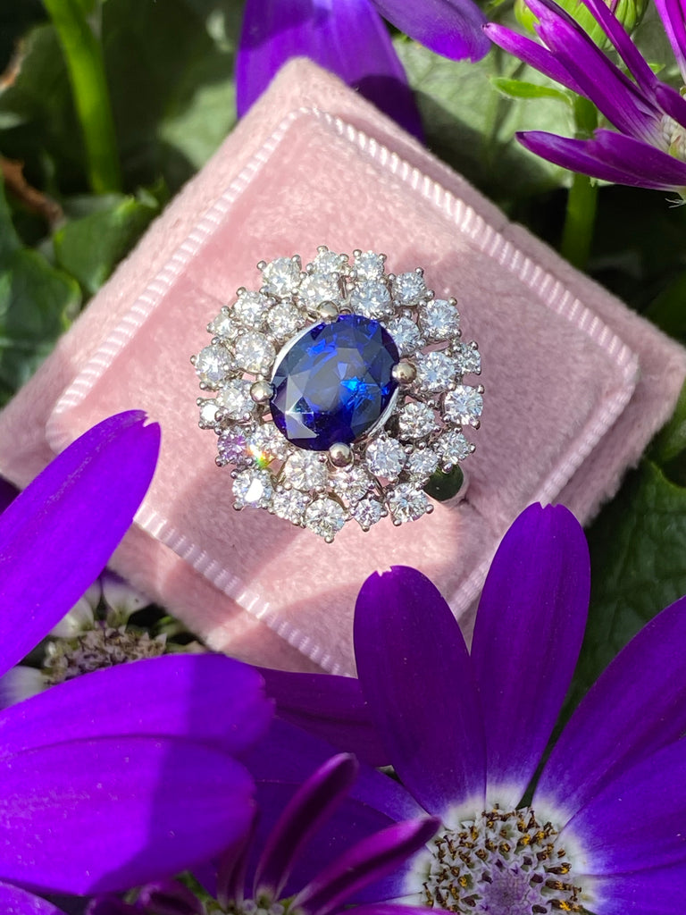 4.47 CTW Oval Cut Blue Sapphire and Double Halo Diamond Engagement Ring