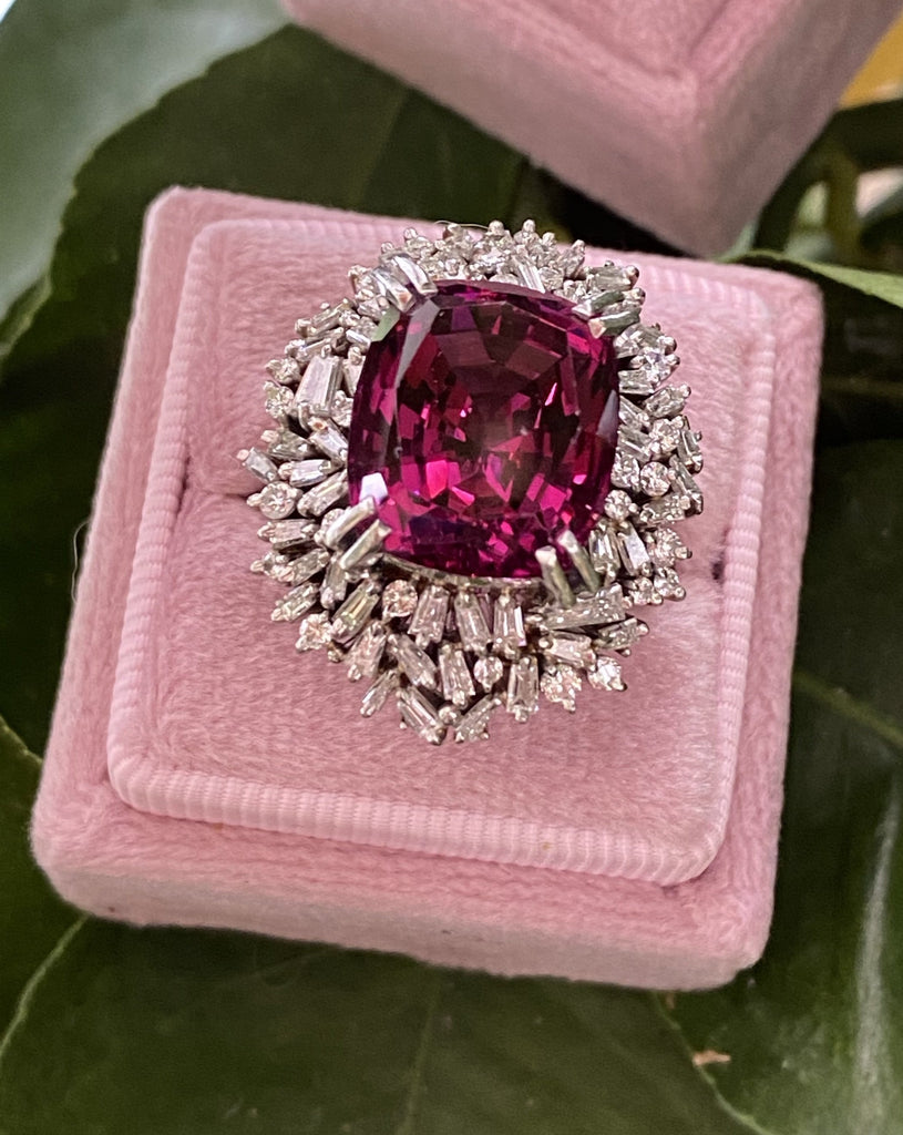 15 Carat Vintage Rhodolite Garnet and Diamond Halo Cocktail Ring in Platinum