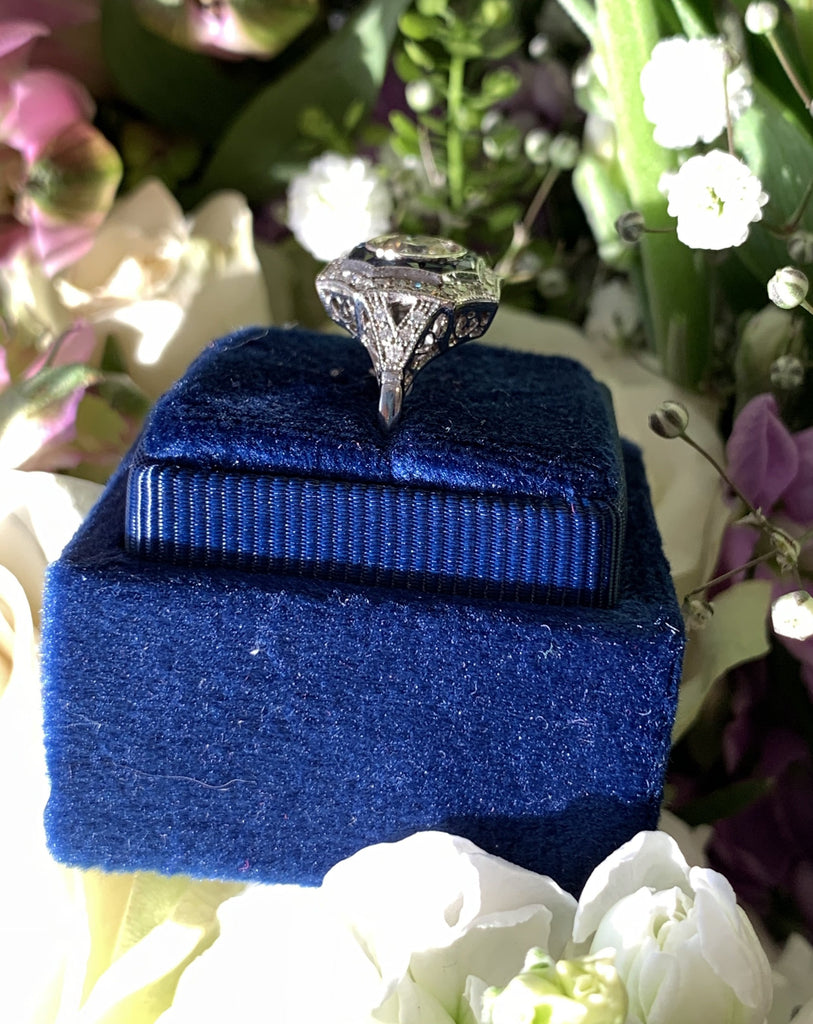 1.10 CTW Diamond and Blue Sapphire Art Deco Halo Target Engagement Ring