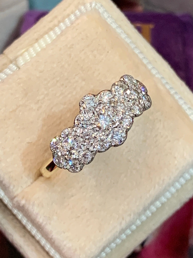 Impossibly Sparkly Diamond Cluster Trilogy Ring