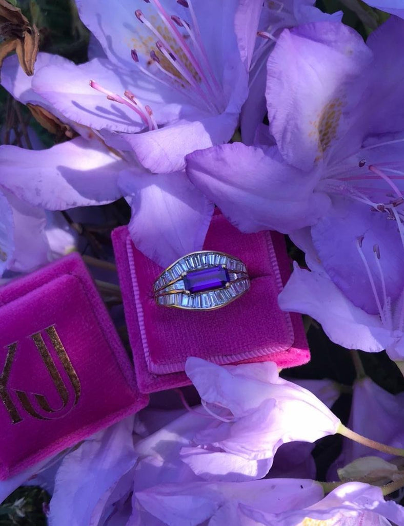 Beautiful Vintage French Amethyst and Diamond Ring