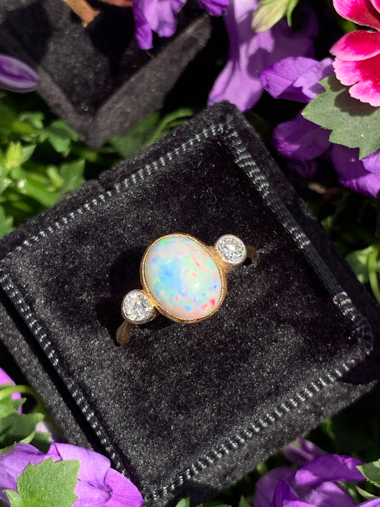 Antique Opal and Diamond Ring