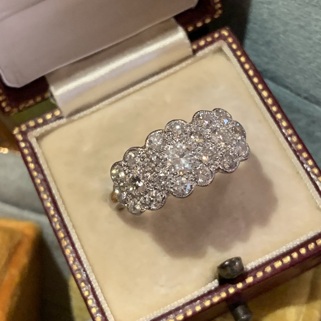 2.25 ctw Diamond Floral Cluster RIng in Platinum