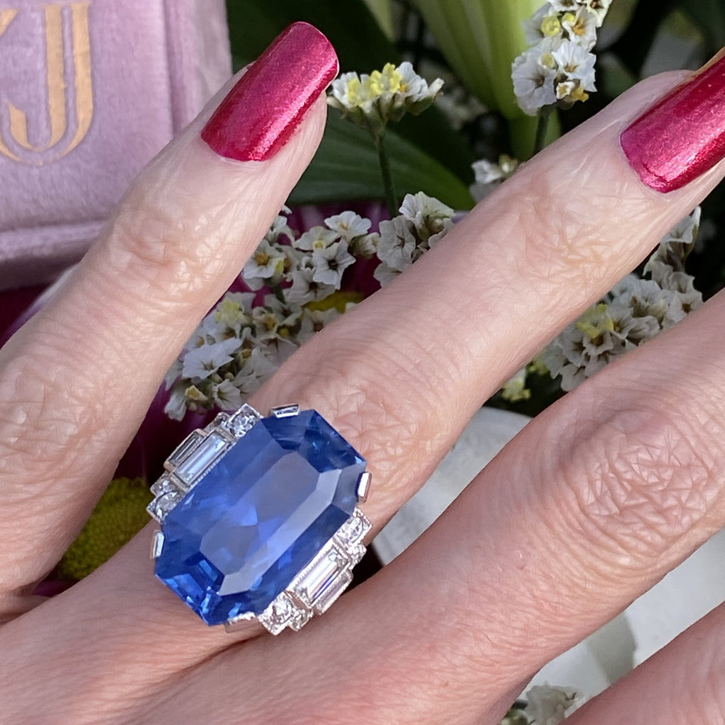 21. 36 Carat Unheated Blue Ceylon Sapphire and Diamond Art Deco Engagement Ring