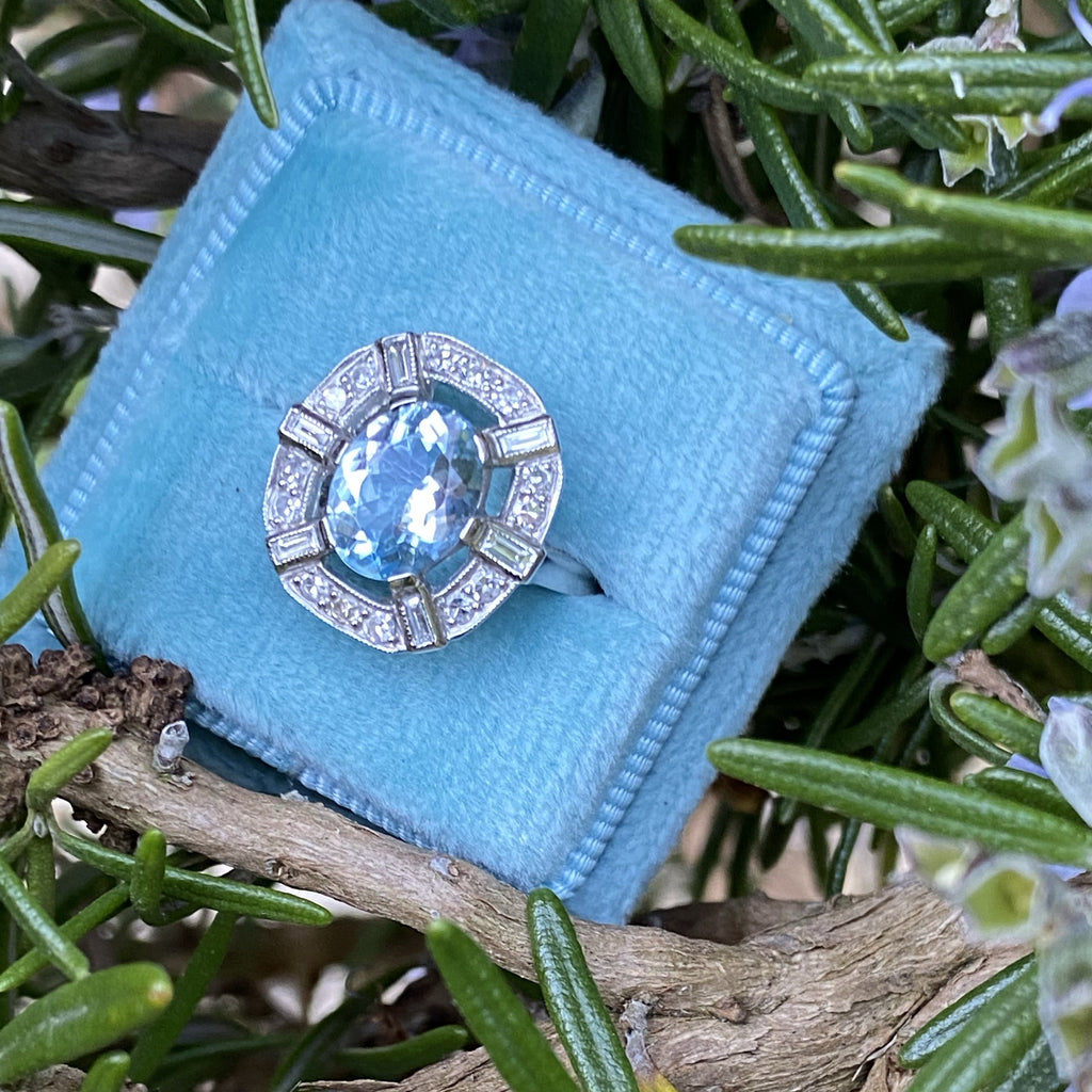 2.65 Carat Aquamarine and Diamond Halo Ring in Platinum