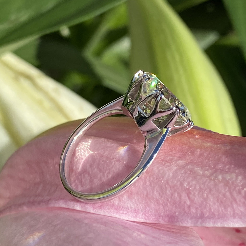 6.25 Carat Transitional Cut Diamond Solitaire Engagement Ring in White Gold