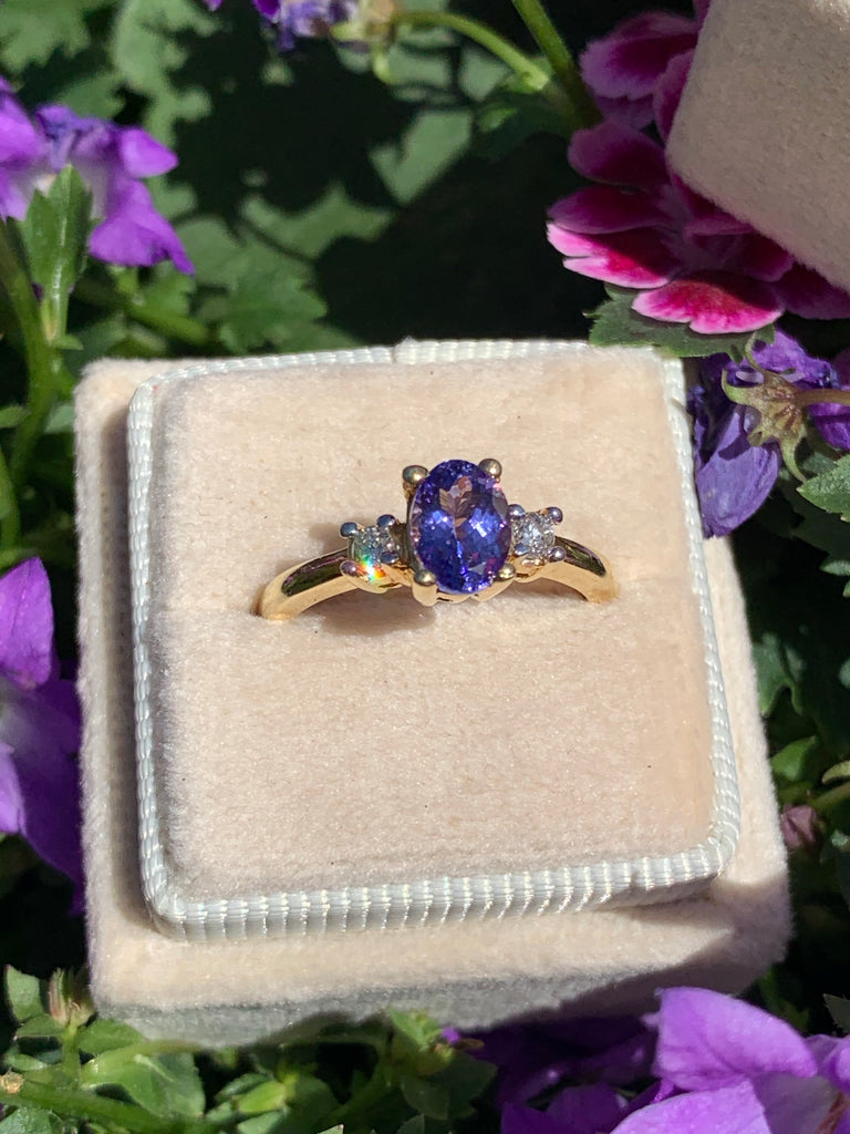 Wonderful Tanzanite and Diamond Three Stone Ring