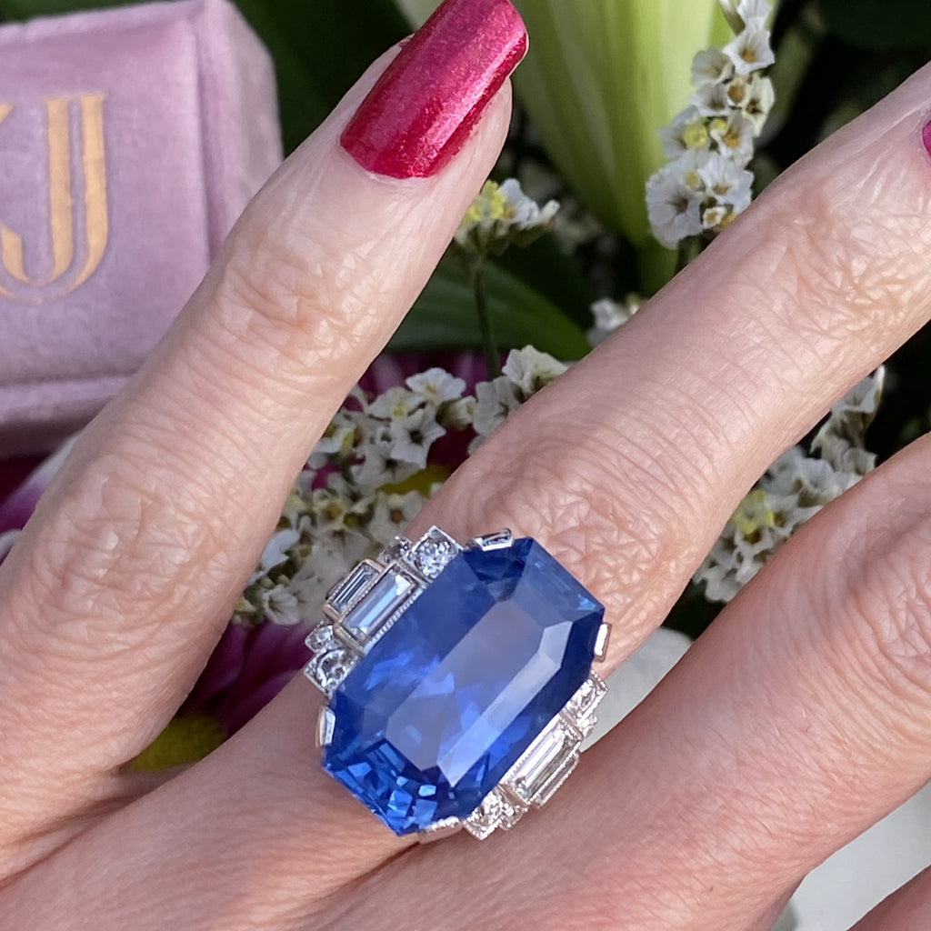 21.36 Carat Unheated Blue Ceylon Sapphire and Diamond Art Deco Engagement Ring