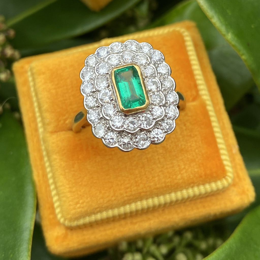 Vintage Emerald and Diamond Double Halo Engagement Ring