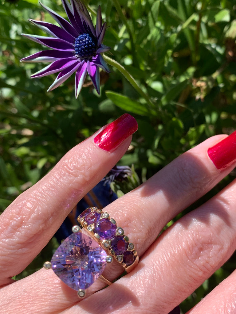 Lovely Amethyst and Diamond Ring