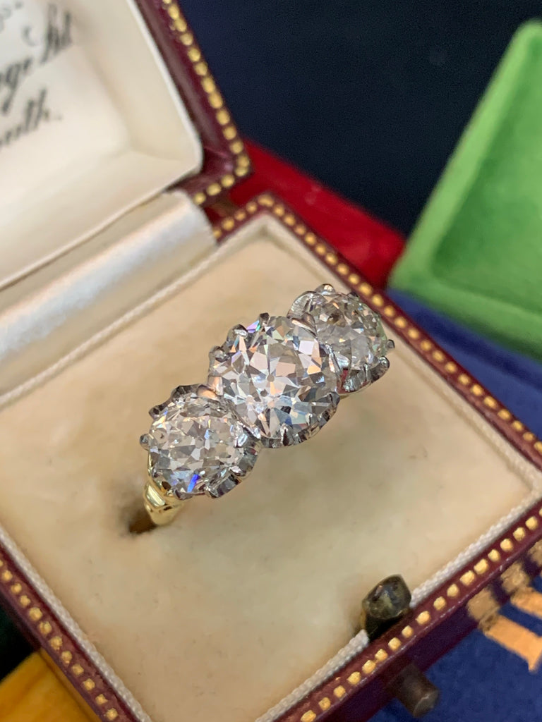 4.28 CTW Old Euro Cut Diamond Trilogy Ring in 18K Yellow Gold