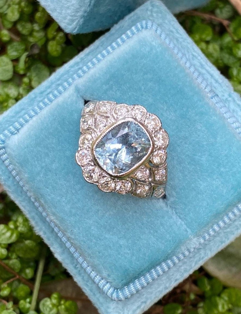 Katherine James Jewellery Aquamarine and Diamond Ring