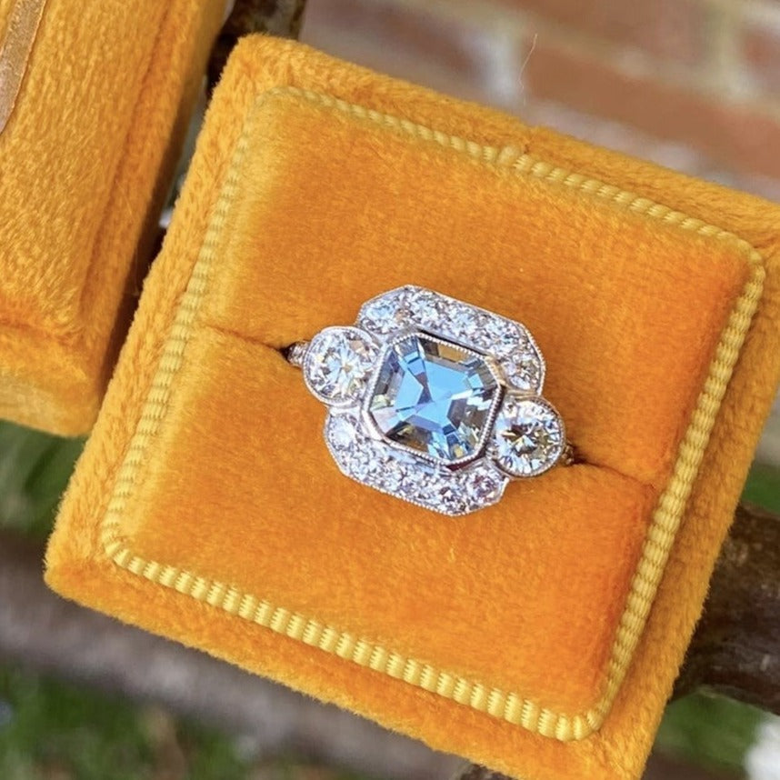 1.25 Carat Aquamarine and Diamond Ring in Platinum