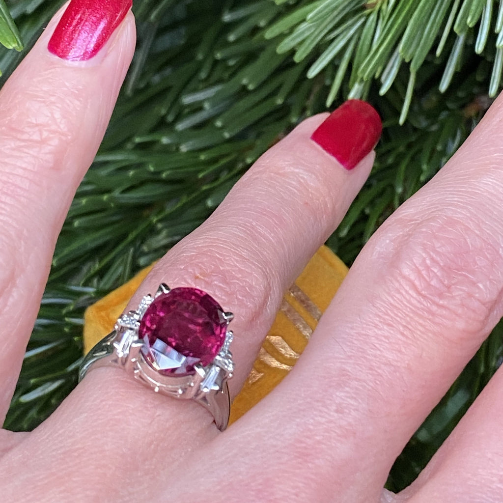 6.05 Carat Red Oval Garnet and Diamond Ring in Platinum