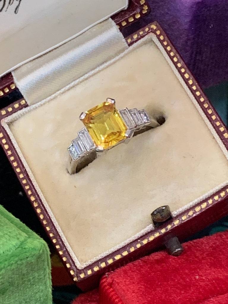 Beautiful Yellow Sapphire and Diamond Ring