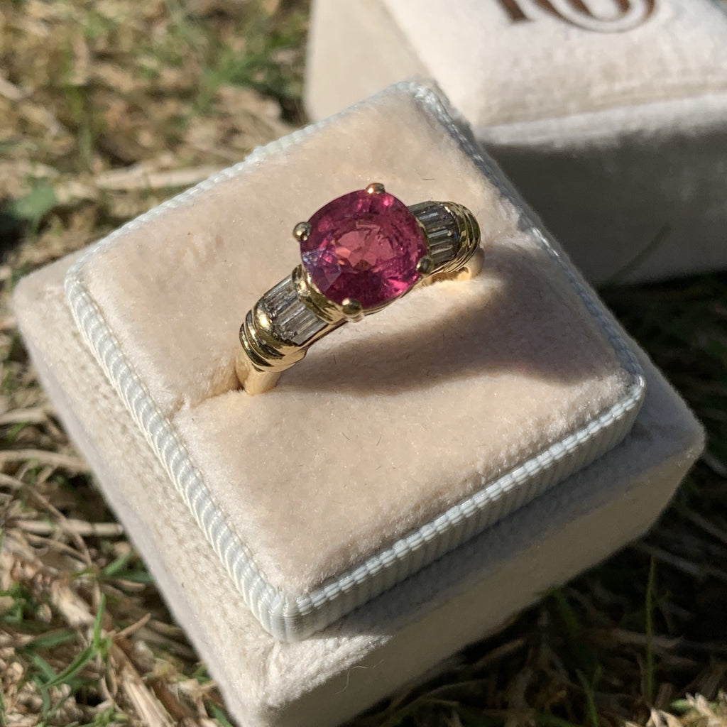 2.16 Carat Pink Tourmaline and Diamond Ring in Yellow Gold