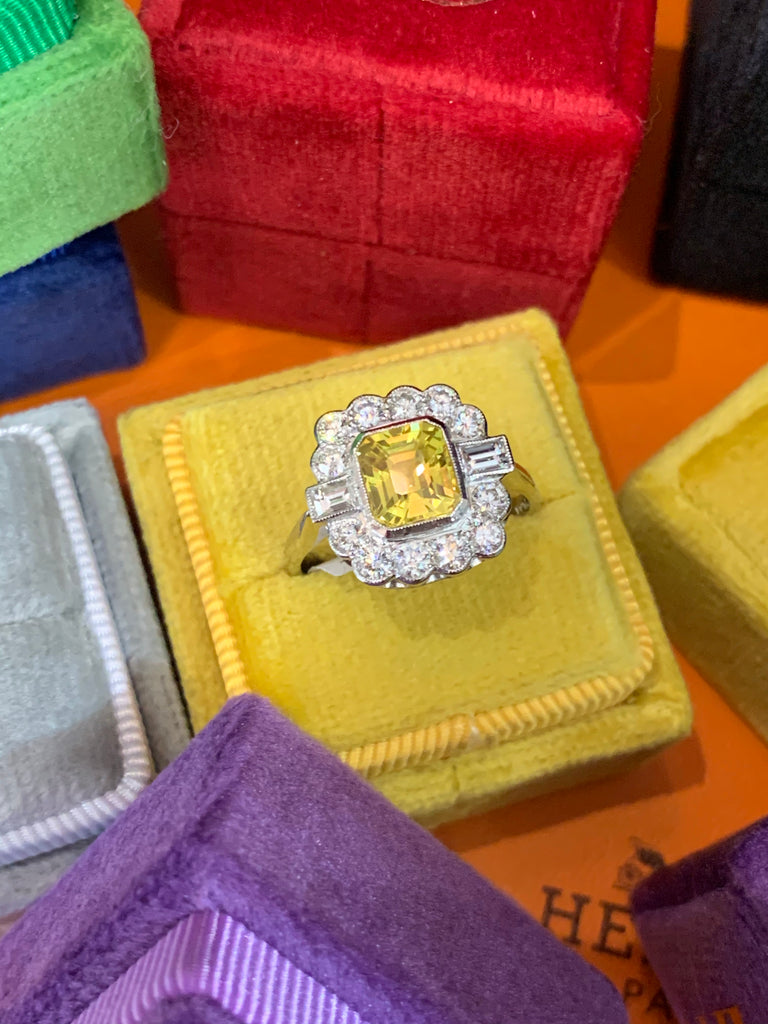 Sunshine Yellow Sapphire and Diamond Cluster Ring