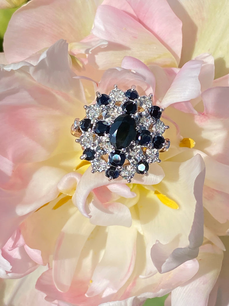 Vintage Blue Sapphire and Diamond Cluster Cocktail Ring
