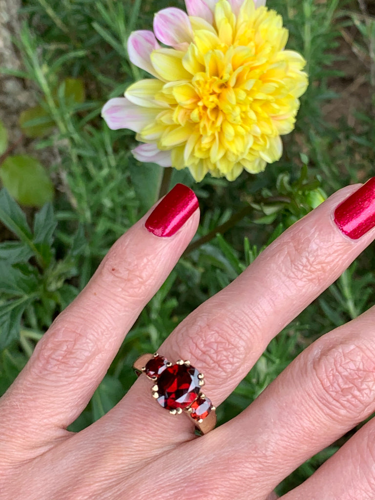Beautiful Three Stone Garnet Ring