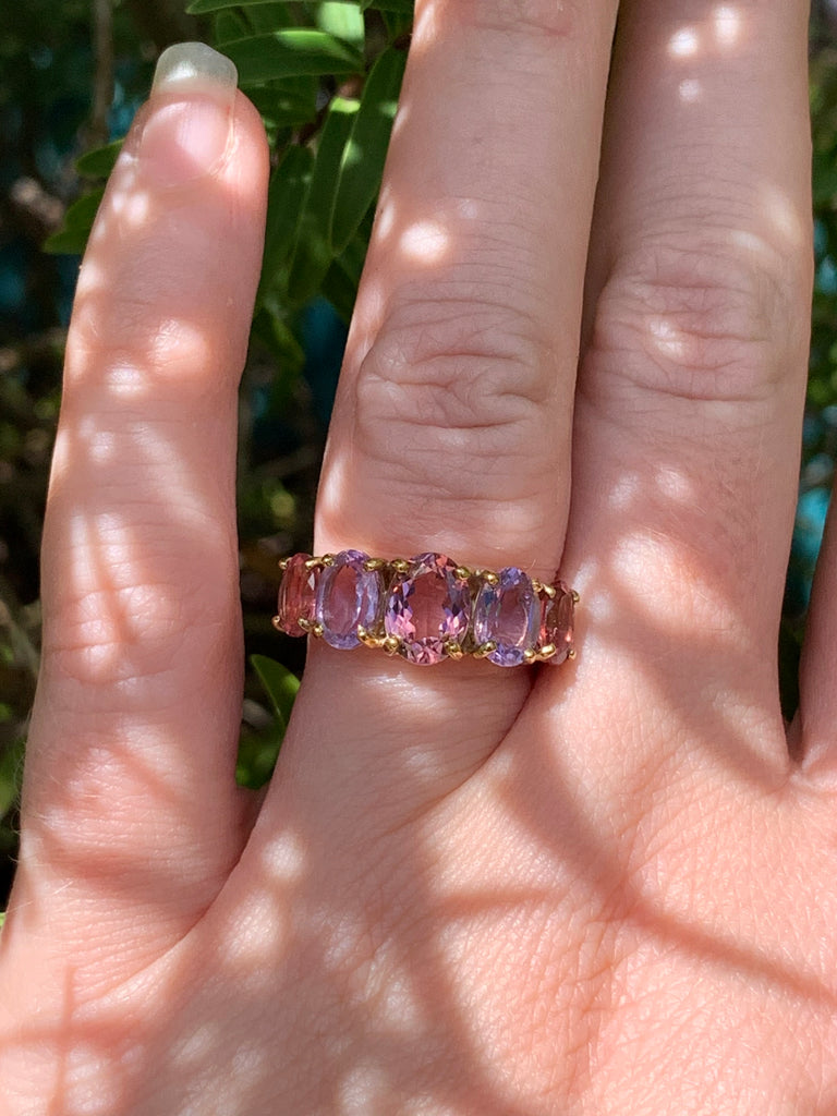 Beautiful Pink Sapphire Amethyst and Tourmaline Ring