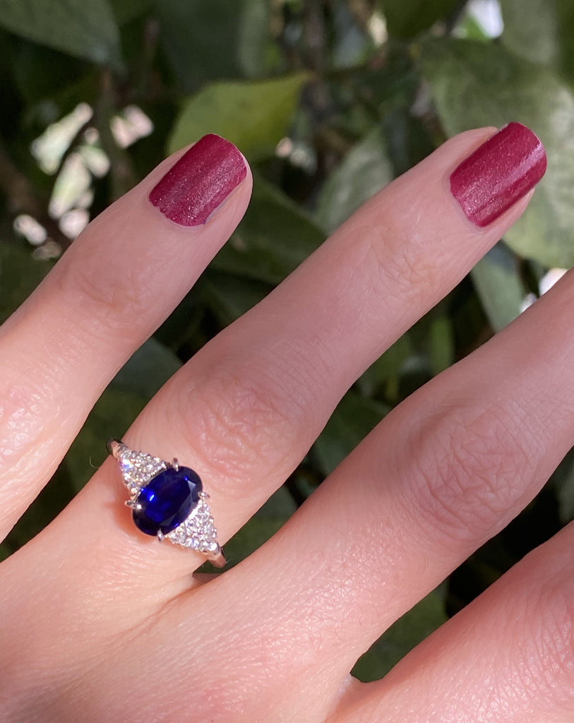 1.27 Carat Oval No Heat Blue Sapphire and Diamond Engagement Ring