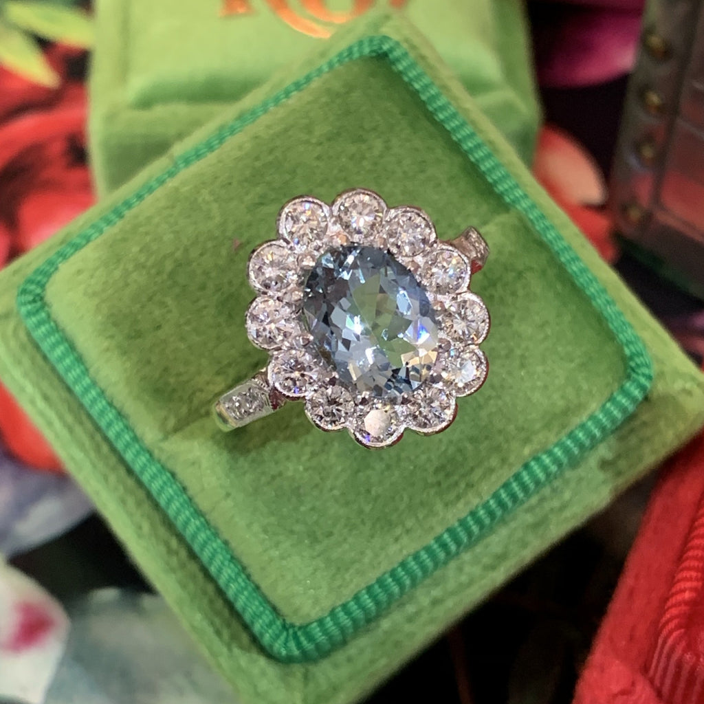1.80 Carat Aquamarine and Diamond Halo Ring in Platinum