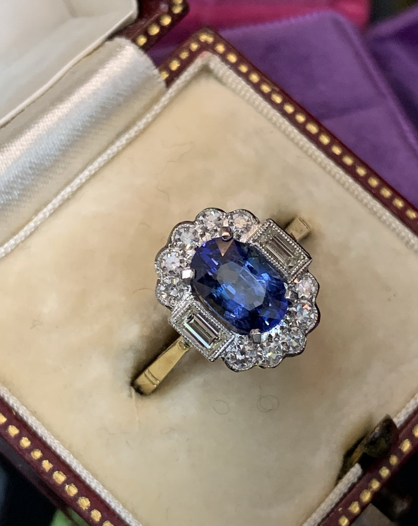 1.60 Carat Blue Ceylon Sapphire and Diamond Halo Ring