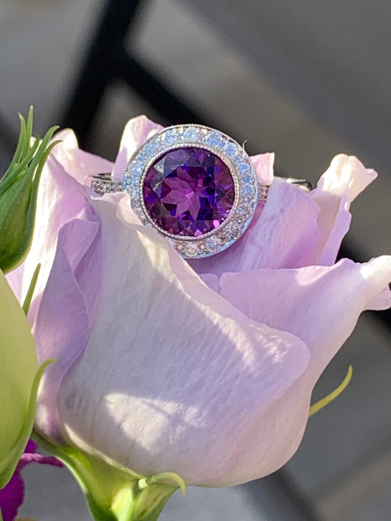 2.00 Carat Amethyst and Diamond Halo Ring in Platinum