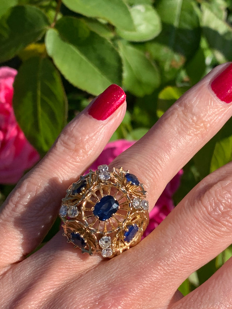 Magnificent French Sapphire and Diamond Ring
