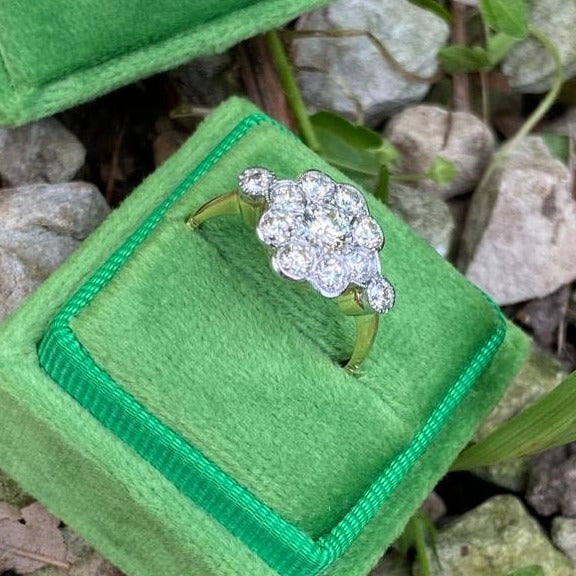 1.20 ctw Diamond Cluster Halo Engagement Ring