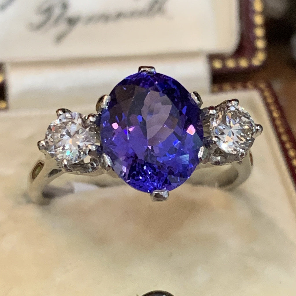 3.3 Carat Tanzanite and Diamond 3-Stone Ring in Platinum