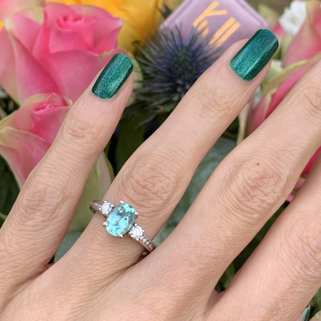 1.00 Carat Aqua Blue Tourmaline and Diamond Ring in 18ct White Gold