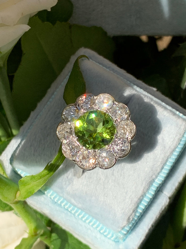 2.40 Carat Peridot and 1.50 Carat Diamond Ring in Platinum