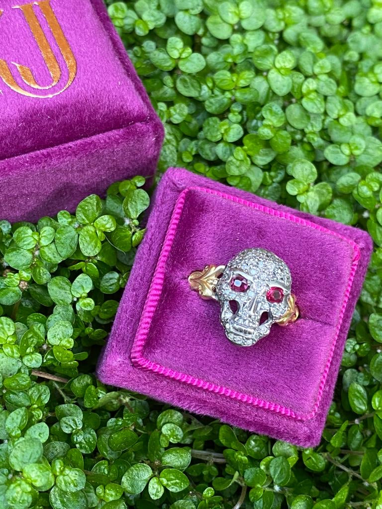 Statement Ruby and Diamond Skull Ring