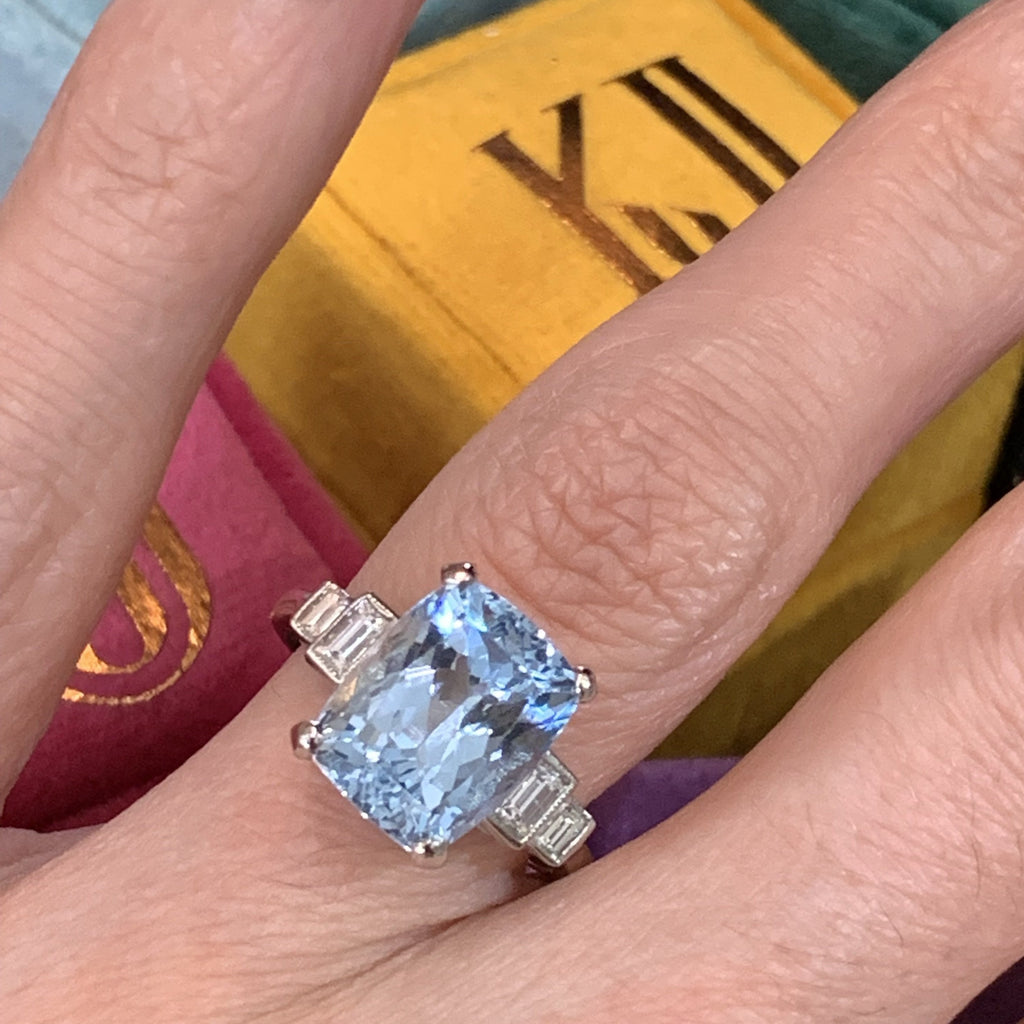 5.1 Carat Aquamarine and Diamond Art Deco Ring
