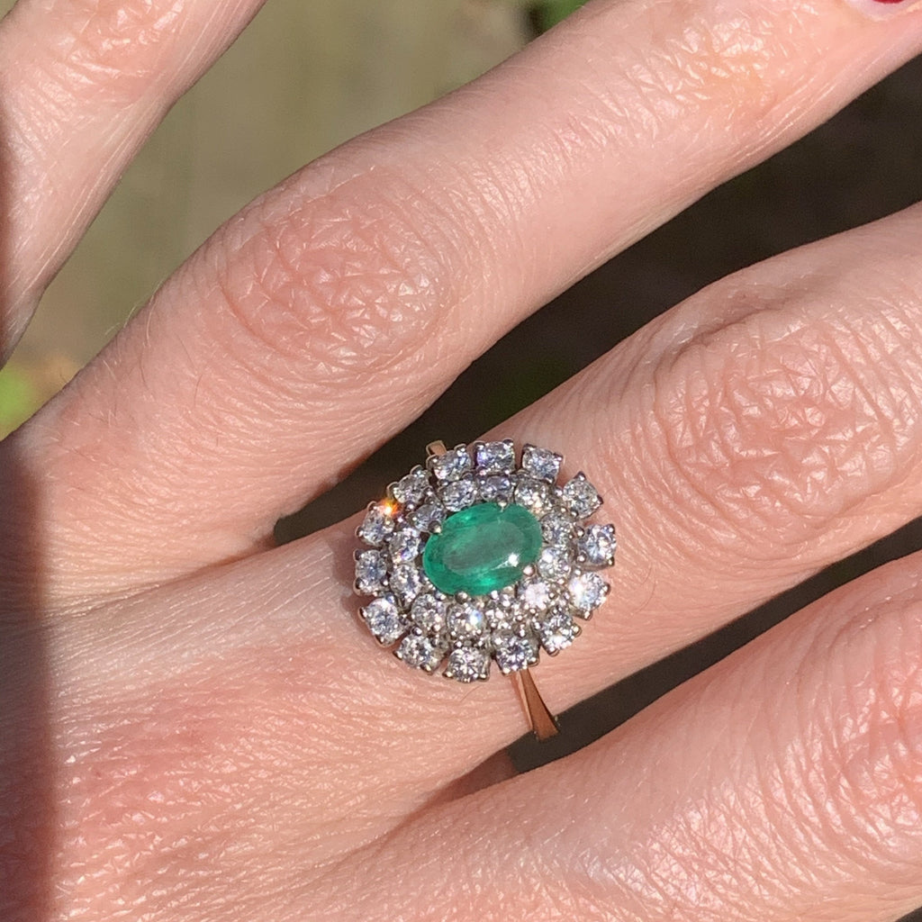 1.00 Carat Colombian Emerald and Double Halo Diamond Ring in 18K
