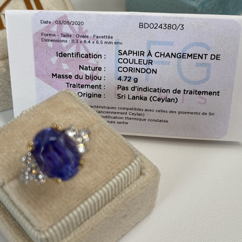 4.98 Carat Colour Change Sapphire and Diamond Ring