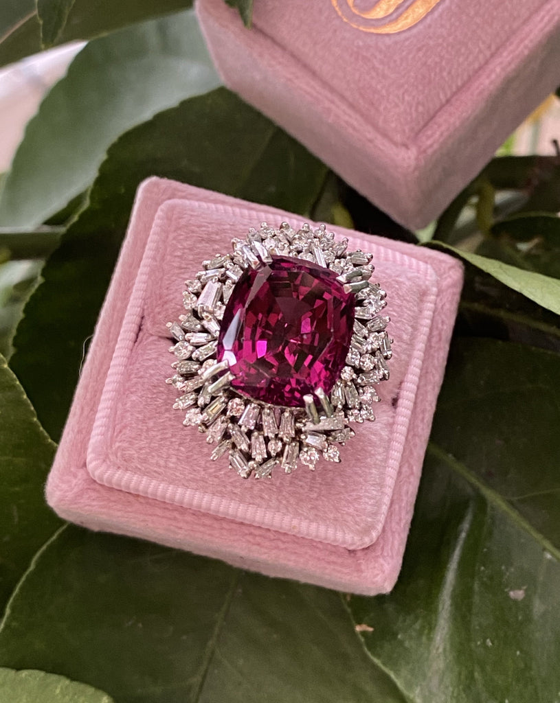 15 Carat Rhodolite Garnet and Diamond Halo Cocktail Ring in Plantinum
