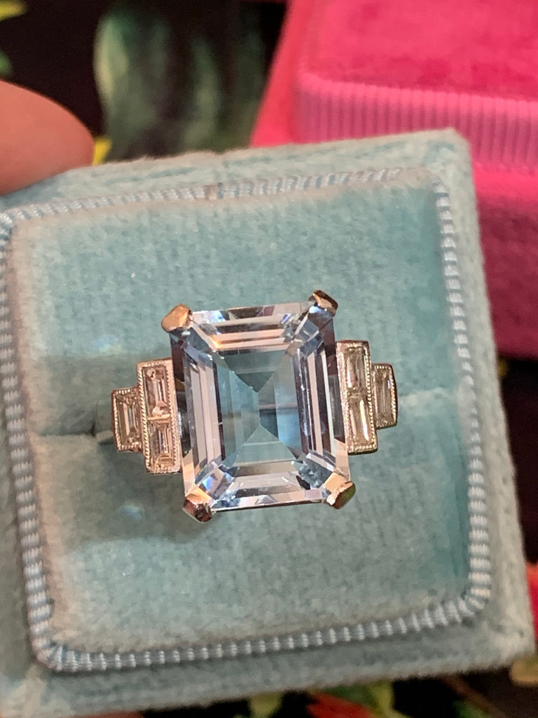 5.58 Aquamarine and Diamond Cocktail Ring
