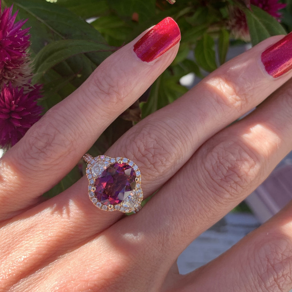 3.00 Carat Oval Cut Pink Tourmaline and Diamond Ring in 18ct Rose Gold