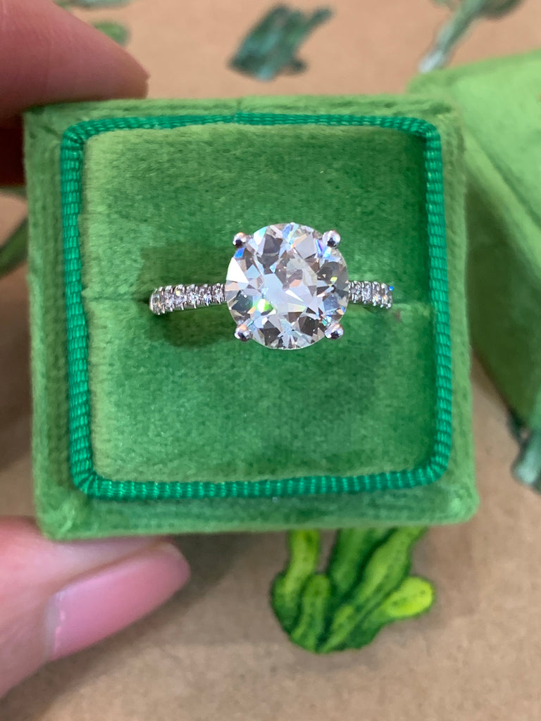2.85 CTW Old Euro Cut Diamond Solitaire Engagement Ring