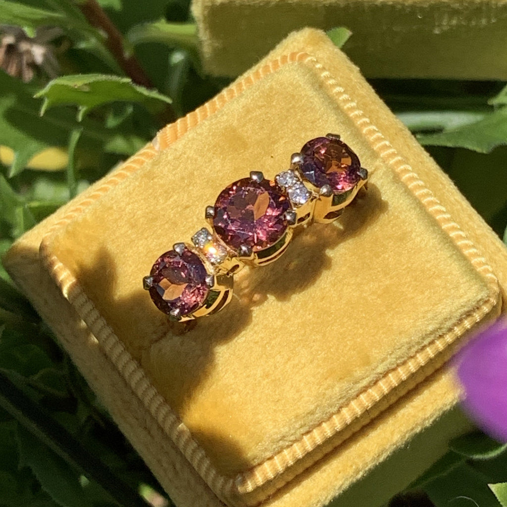 Pink Tourmaline and Diamond Ring in 14K Yellow Gold