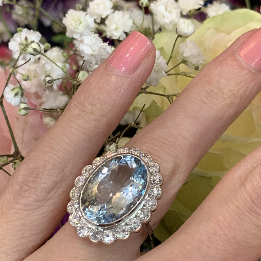 8 Carat Aquamarine and Diamond Cluster Ring in Platinum
