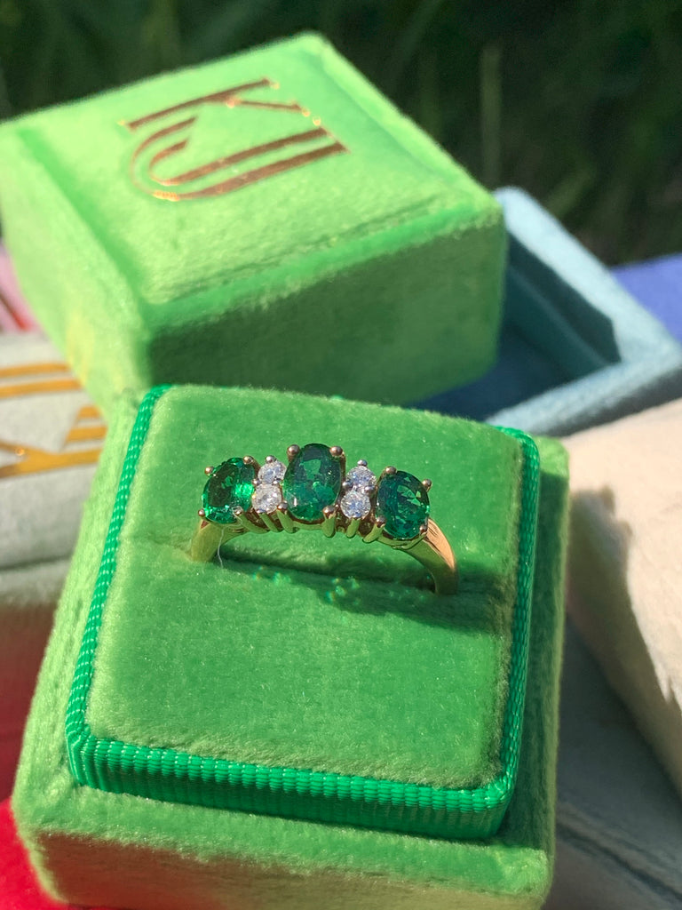Beautiful Tsavorite Garnet and Diamond Eternity Ring