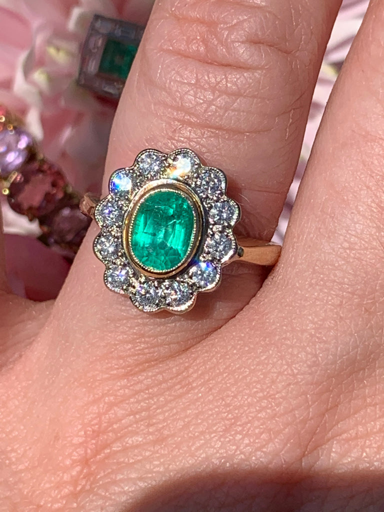 1.45 Carat Emerald and Diamond Ring in 18K Gold